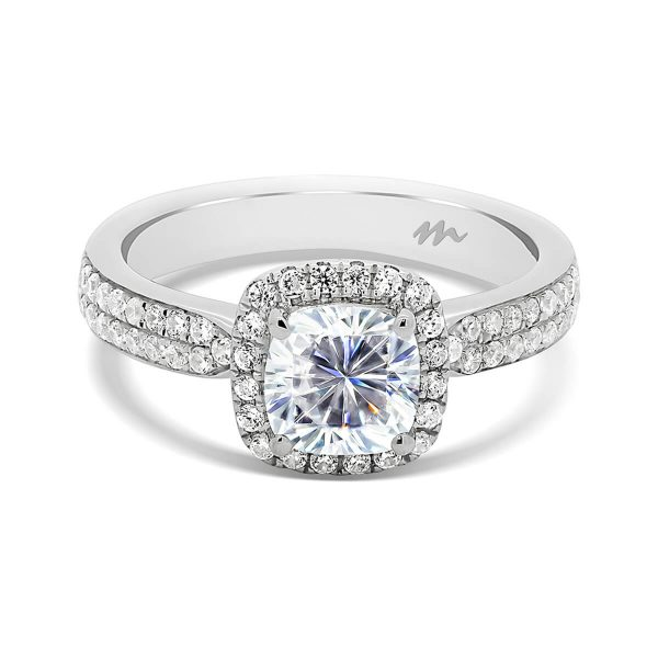 Chrissy cushion cut halo ring on tapered double-row pave set band