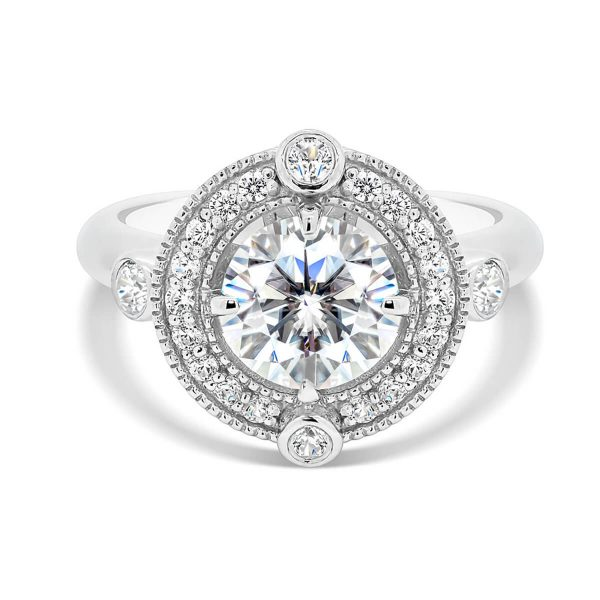 Heaven pave set halo ring with bezel accent stones and polished knife-edge band