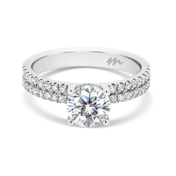 Melina 4 prong round solitaire on double row prong set band