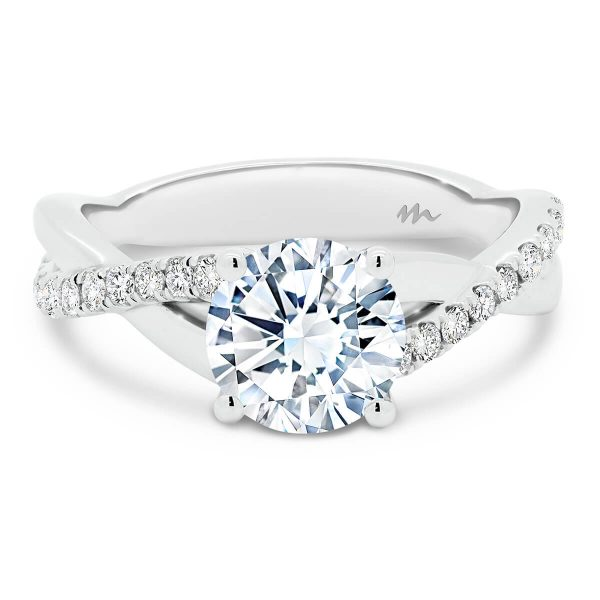 Priscilla vine twisted band Moissanite or diamond engagement ring