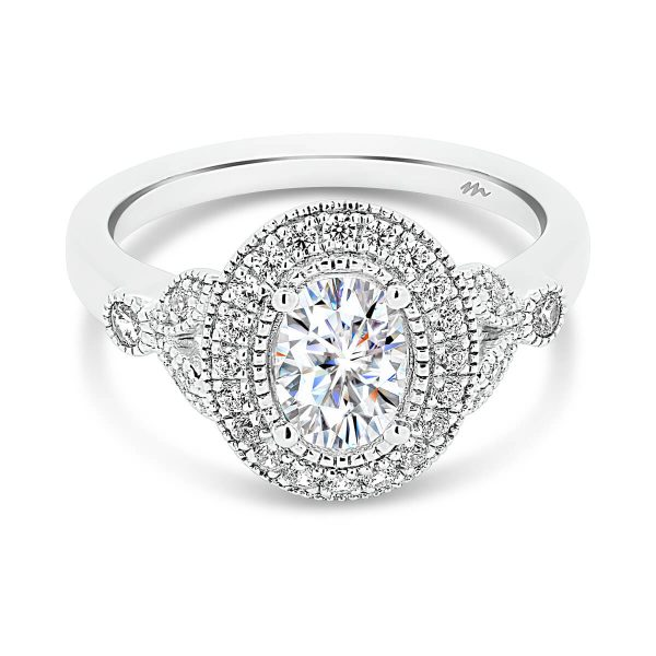 Scarlett Oval vintage halo ring with milgrain edges on marquise-shaped split band