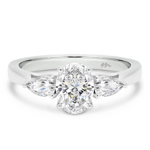 Tara Oval 3 stone ring with Pear side stones