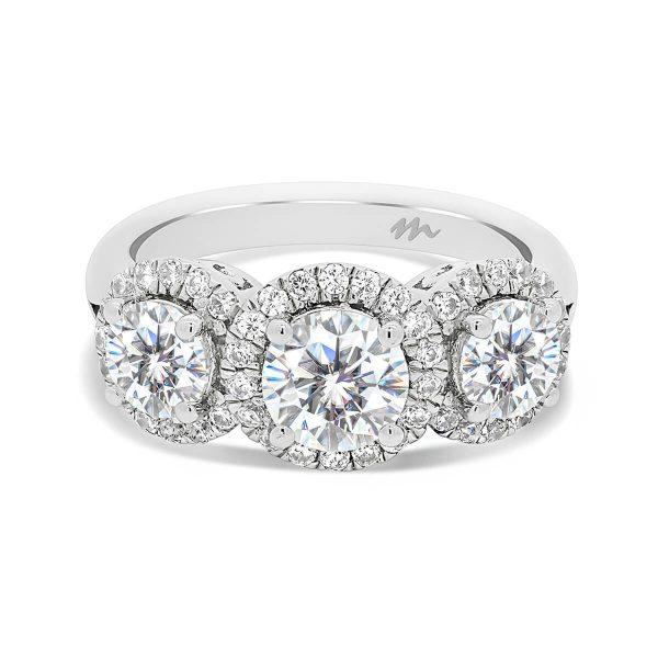Trinity 3-stone halo ring