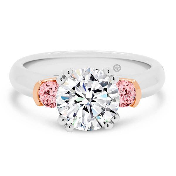 Athens Pink lab-grown diamond engagement ring 2.00 carat three stone design