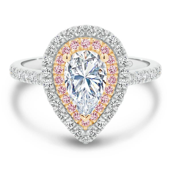 Barcelona Pear Pink lab-grown diamond double halo