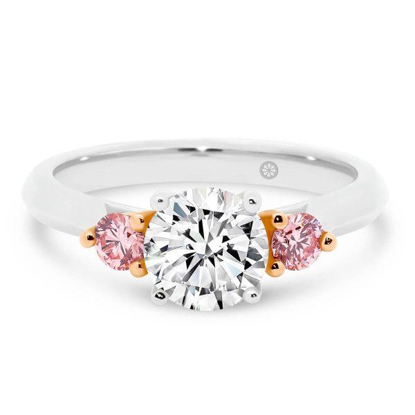 Edinburgh Pink lab-grown diamond engagement ring 1.00 carat centre stone knife edge band