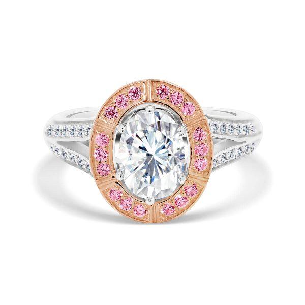 London Oval Pink splice halo design on split shank and stone set bridge