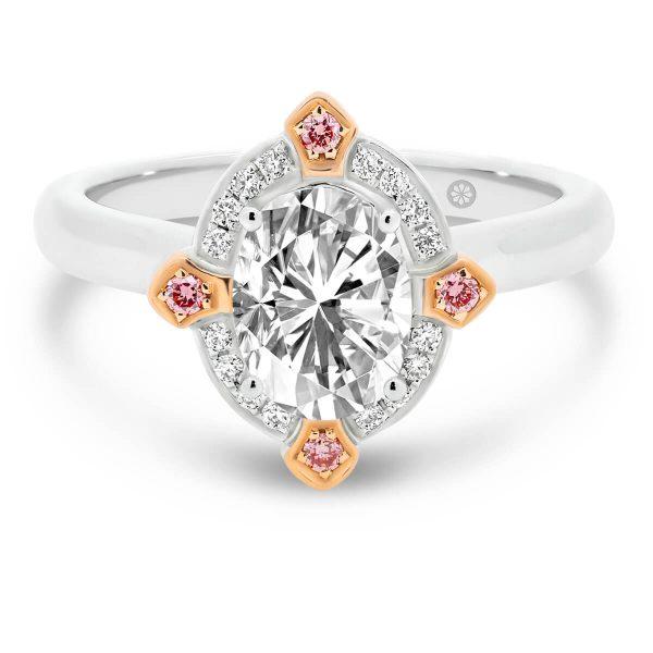 Manhattan Pink oval lab-grown diamond ring