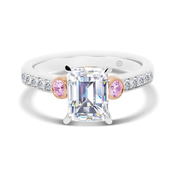 Milan Emerald Pink 4 prong ring with pink side stones in bezel set and pave set band