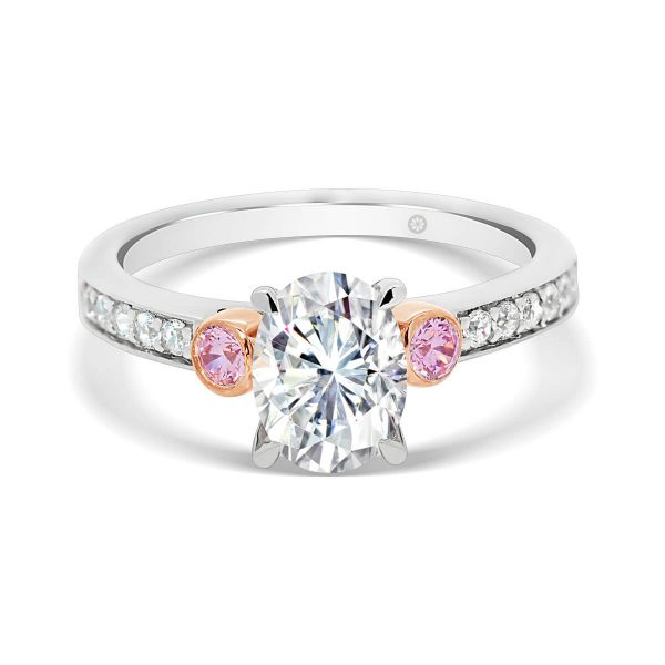 Milan Oval Pink 4 prong ring with pink side stones in bezel set and pave set band