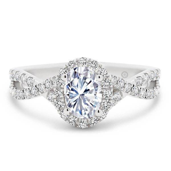 Newport lab-grown oval diamond engagement ring with prong set crossover band