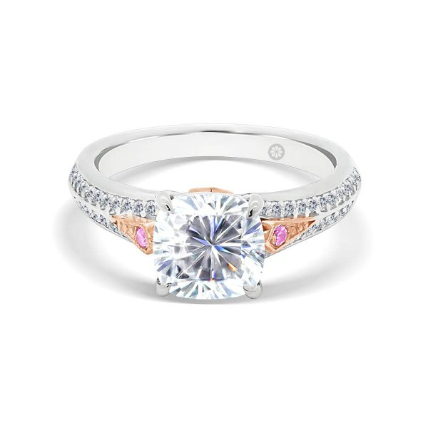 Paris cushion 4 prong ring on pave set knife-edge band with pink diamond accents