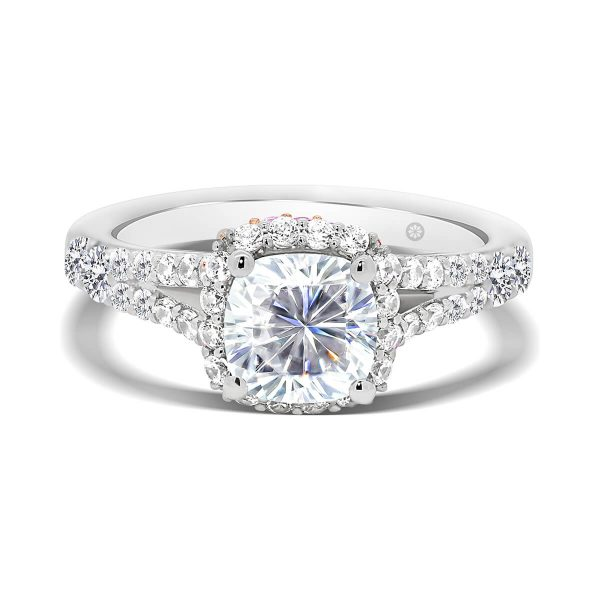 Rome Cushion ring with rolling double halo in pink & white lab-grown diamond accents on split band