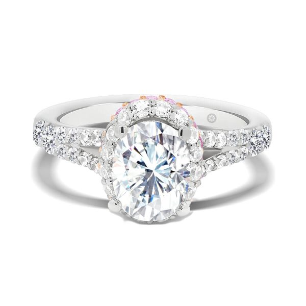 Rome Oval stacked halo ring with split prong set band