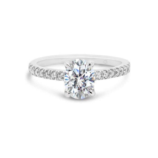 Tori modern 4 prong solitaire on a delicate prong set band with premium lab-grown diamonds