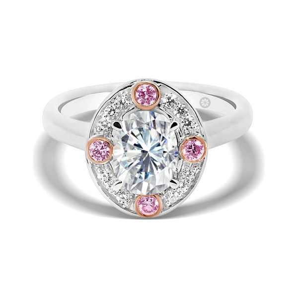 Vienna Oval Pink lab-grown diamond engagement ring with pave set halo on plain band