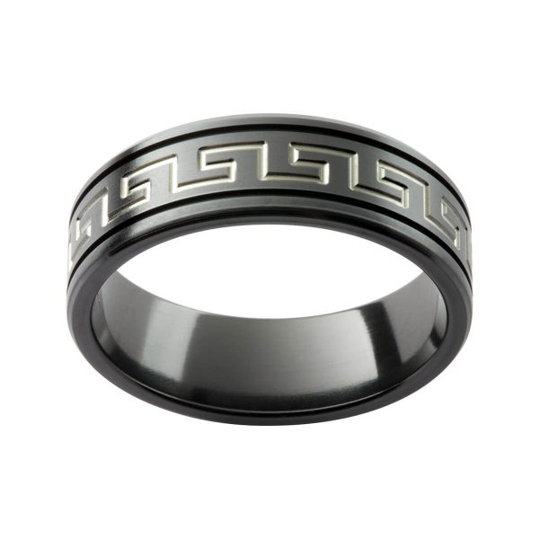 ZR12 men's black zirconium ring in a matte finish with engraved graphic pattern in contrast tone