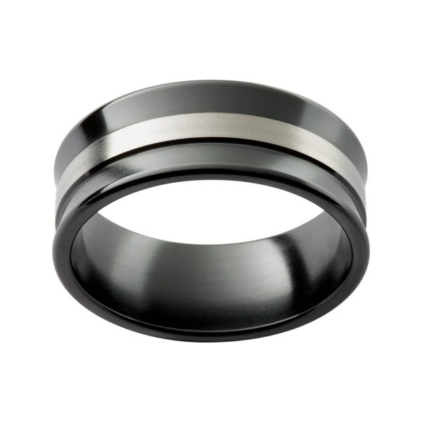 ZRJ13 concave black zirconium ring with a white gold overlay strip in the middle