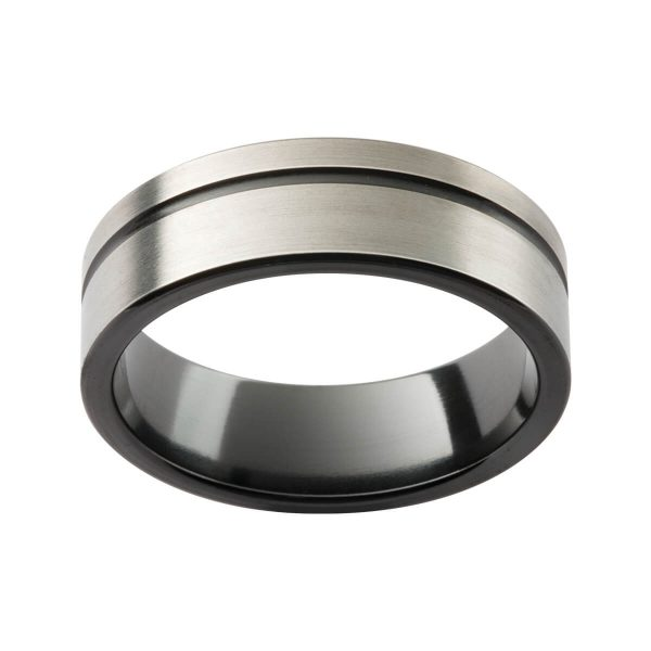 ZRJ4 men's zirconium two tone ring with an offset groove and black inner band