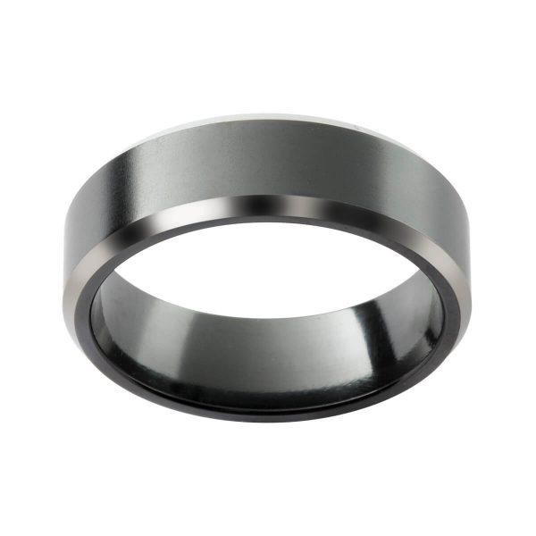 ZRJ5 black zirconium flat band with bevel edges