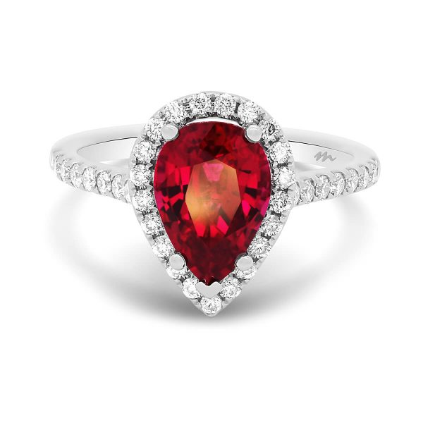 Eugenia Red pear shaped ruby halo ring on prong-set half band and detailed stone-set bridge