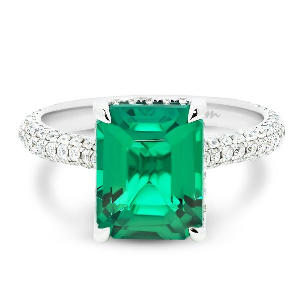 Kalina emerald gemstone ring in stone-set 4 prong on rolling 3-row micro pave band
