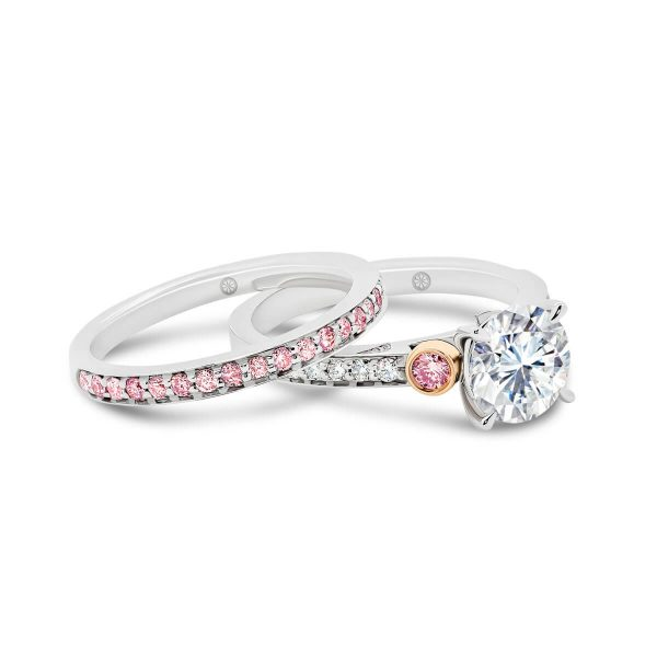 Milan A pave set lab-grown pink diamond wedding ring
