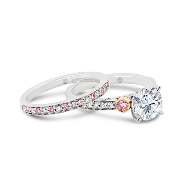 Milan A pave set pink & white lab-grown diamond wedding ring