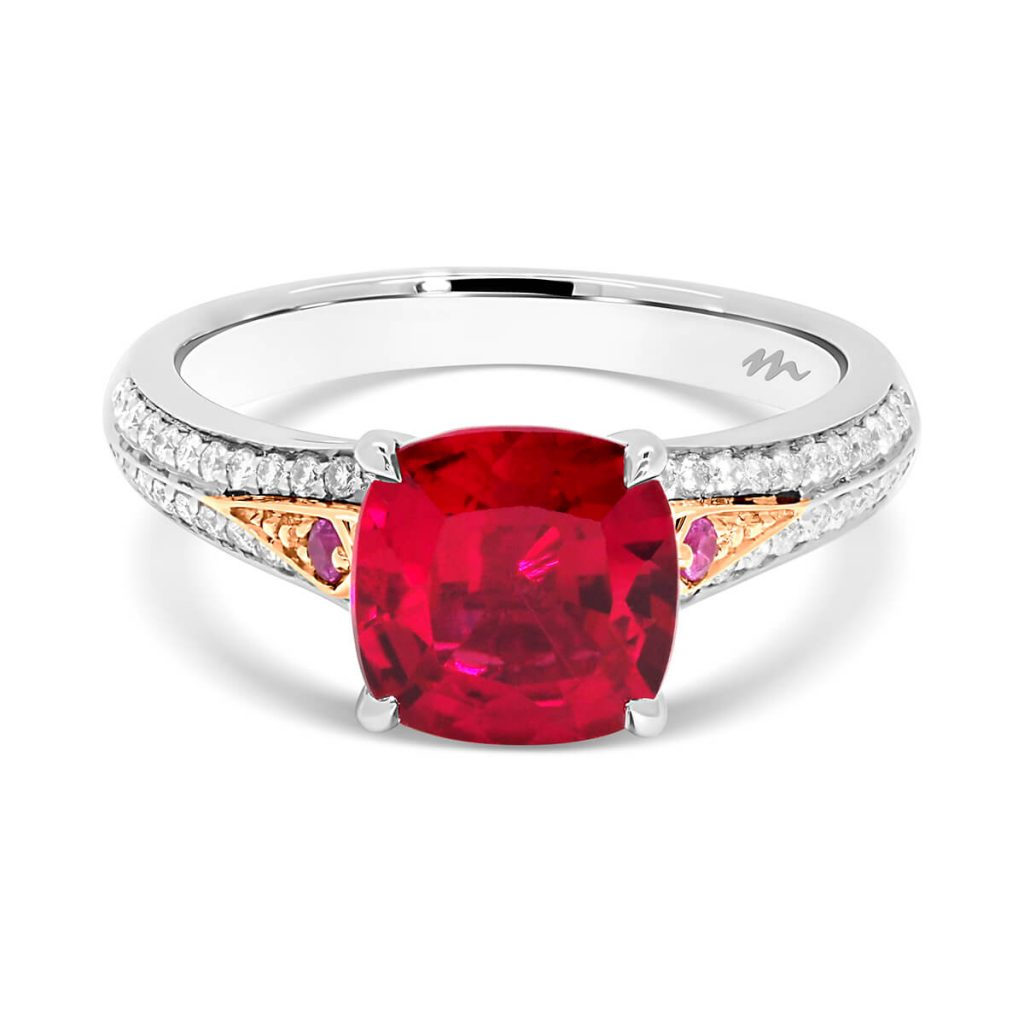 Posey Cushion 7.0 cushion-cut ruby in two-tone setting with pave knife-edge band and structured gallery