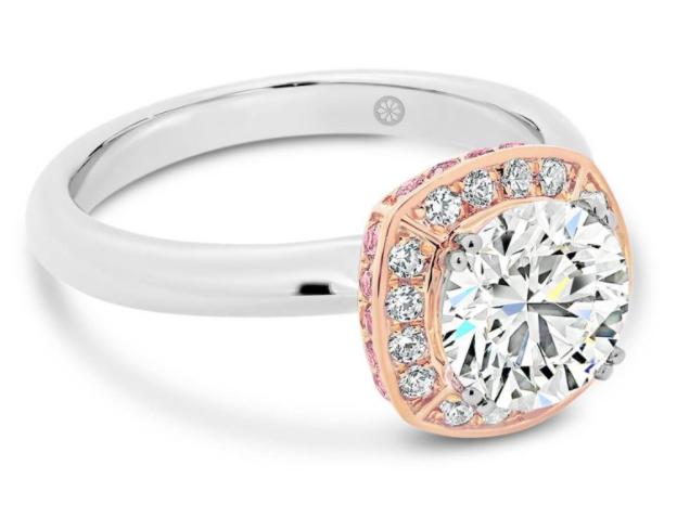 Tokyo Round pink lab grown diamond engagement ring
