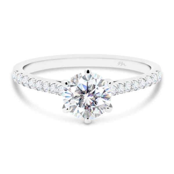 Aspley round 6 prong solitaire on graduating prong set half band with premium lab-grown diamond