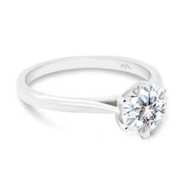 Milton 6.5-7.0 lab-grown diamond ring in 6 prong royal crown setting with tapered band