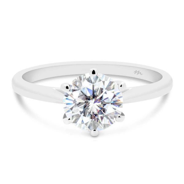 Milton 7.5-8.0 lab-grown diamond ring in 6 prong royal crown setting with tapered band
