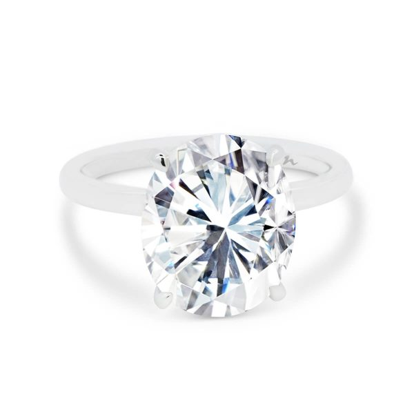 Artemis large oval solitaire with micropave under-rail on plain rounded polishd band