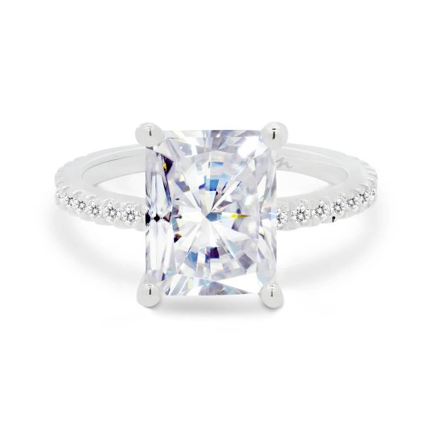 Josephine large radiant ring with micropave setting on delicate 3/4 prong set band