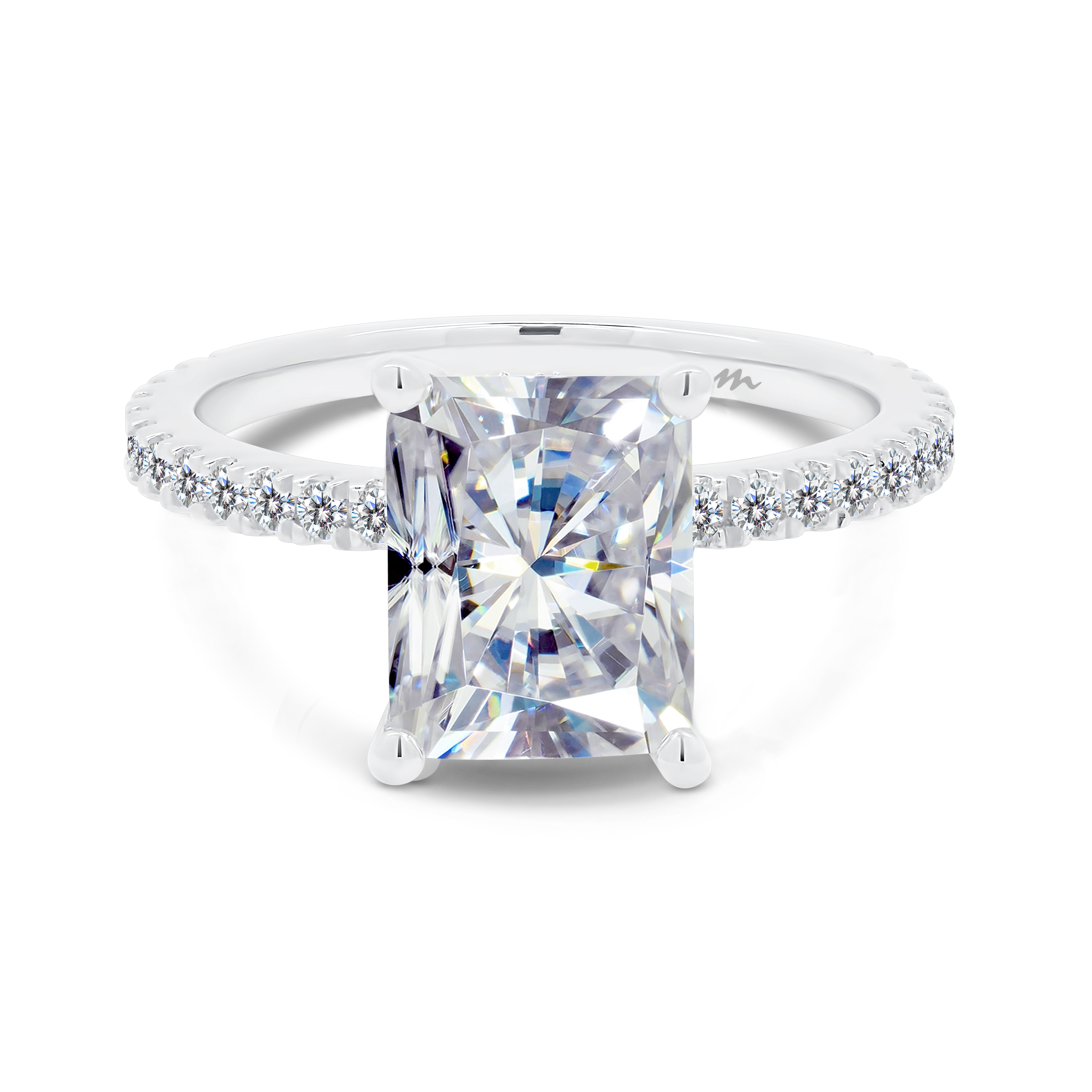 Mia 4 prong radiant ring on encrusted setting and 3/4 stone set band