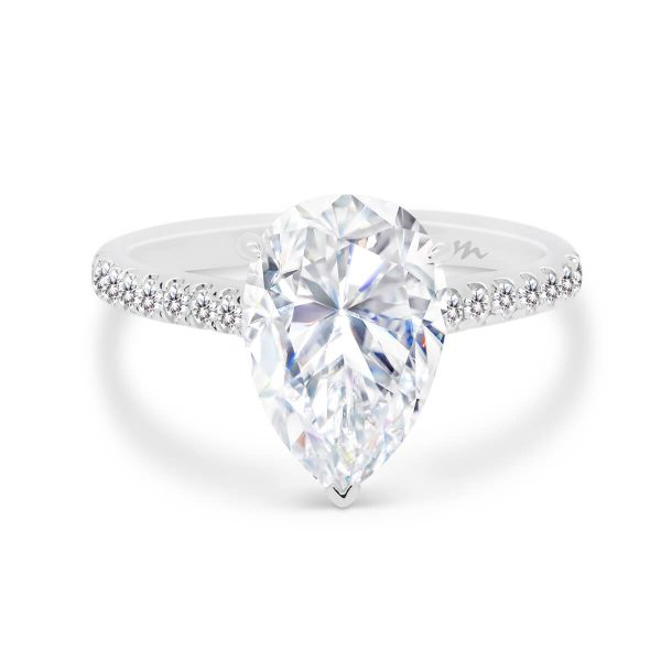 Skylar 3.50ct pear cut 3 prong set with micropave underrail on delicate 3/4 prong band