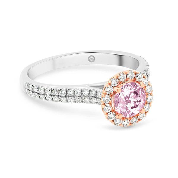 Ali Pink 5.0 pink diamond ring with pave halo on double-row pave set diamond band