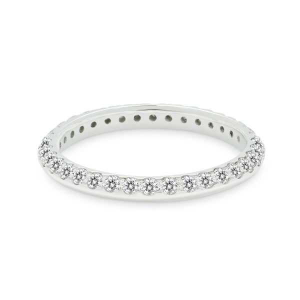 Audrey B knife-edge band with full pave-set stones to one side
