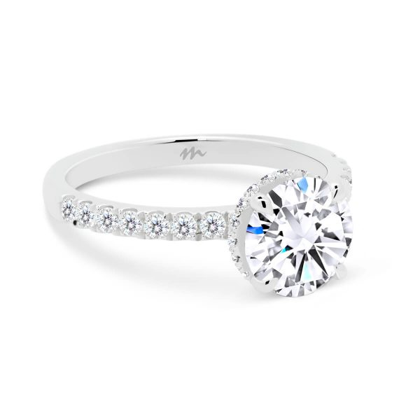 Darcy round ring with hidden halo on delicate prong set half band