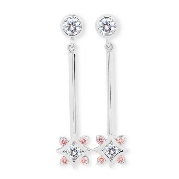 Doris Pink star-shaped dangling earrings