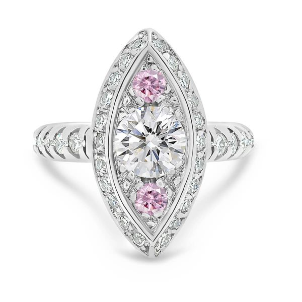 Evita Pink marquise shaped pave ring with one carat centre and two pink accents on prong-set band