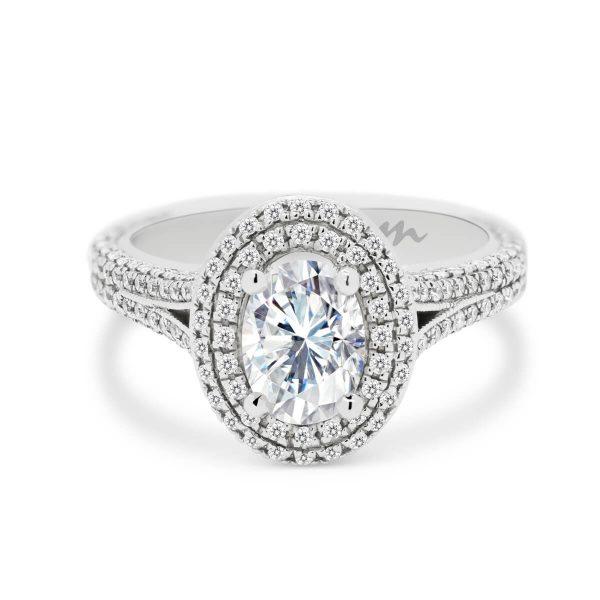 Kate double halo Moissanite & Diamond ring in split shank 3/4 full pave band