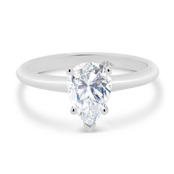 Luna 9x6 pear cut solitaire on polished knife-edge band