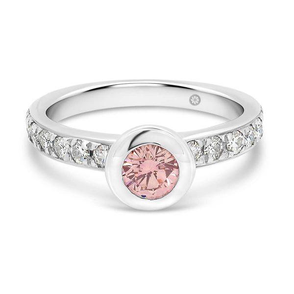 Marlene II Pink bezel set pink diamond ring on pave set half band